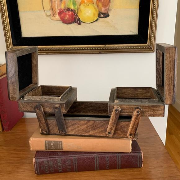 Boho Carved Wood Jewelry Box